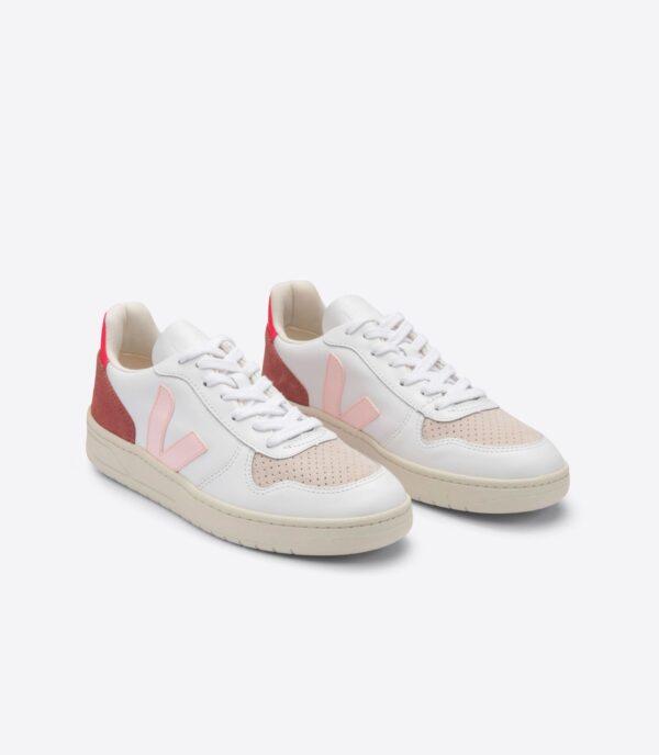 Veja Shoe V 10 LEATHER EXTRA WHITE PETALE ROSE FLUO 2