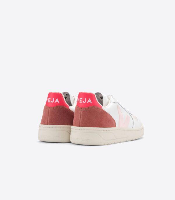 Veja shoes V 10 LEATHER EXTRA WHITE PETALE ROSE FLUO 3
