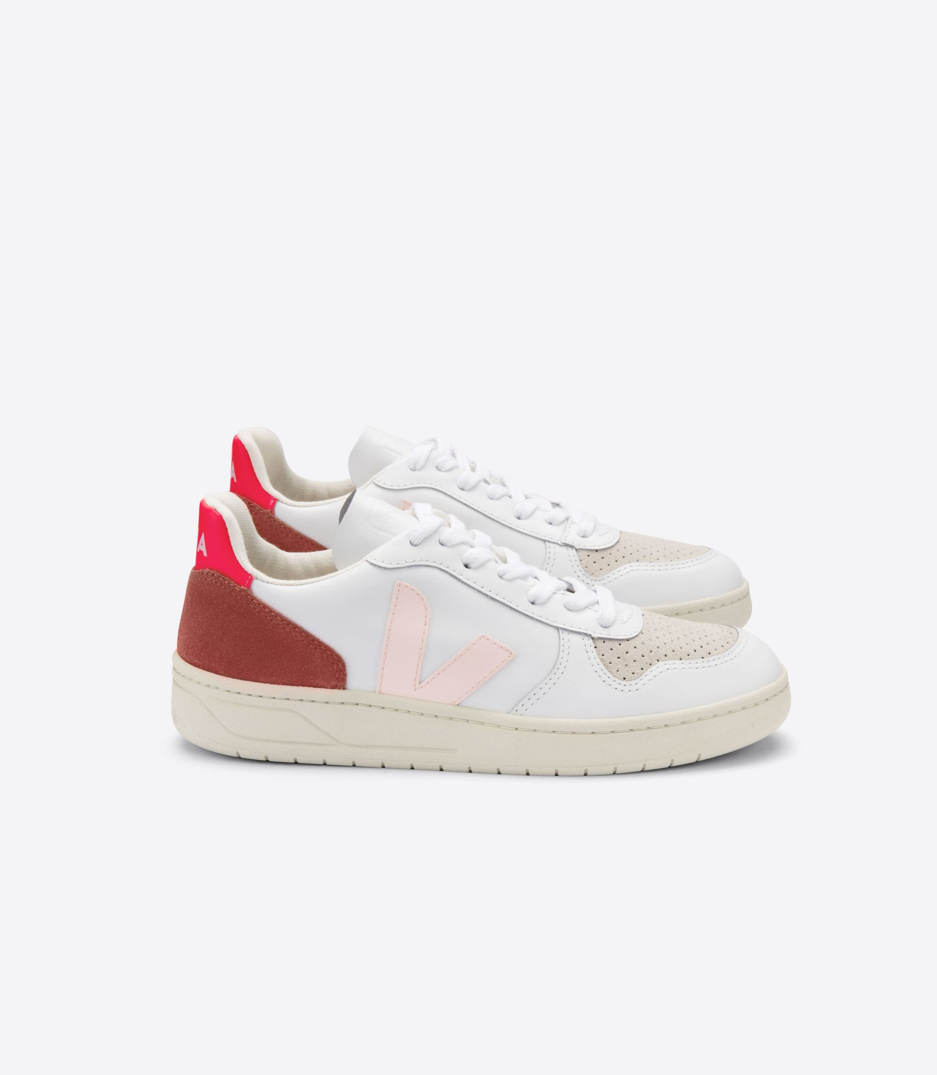 Veja shoes V 10 LEATHER EXTRA WHITE PETALE ROSE FLUO1