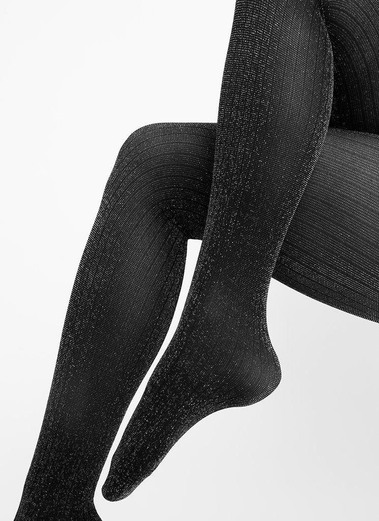 lisa lurex rib tights blacksilver patterned stockings swedish stockings