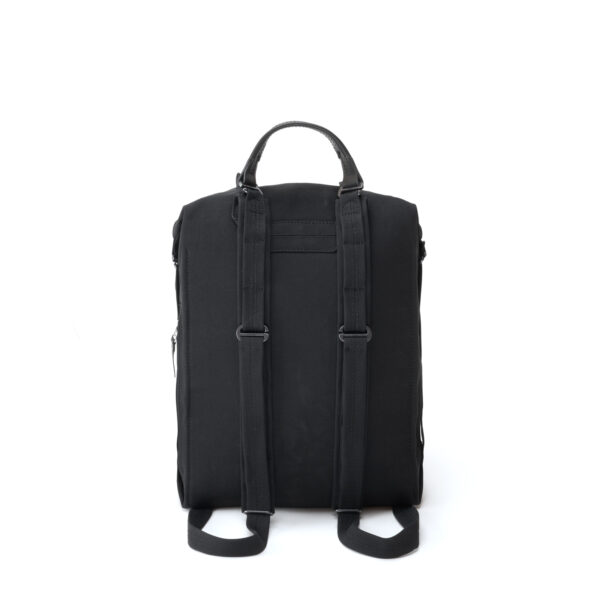 qwstion bananatex zip pack all black backpack back